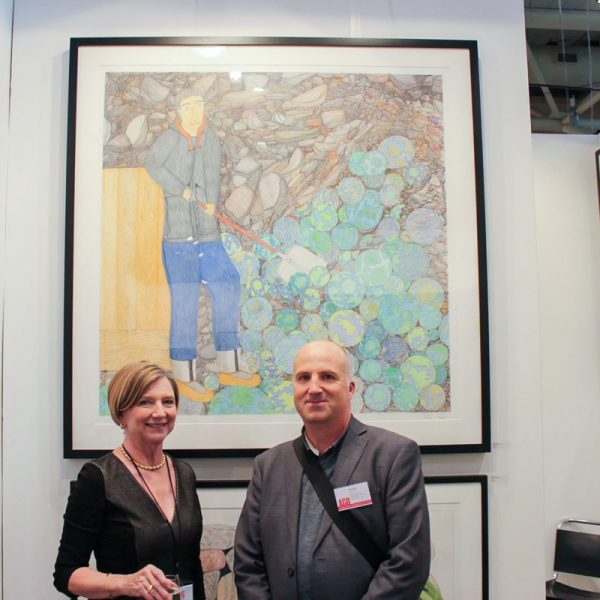 With Andrew Hunter at Art Toronto, celebrating the purchase of Shuvinai Ashoona's  Shovelling Worlds by the Art Gallery of Ontario, 2013