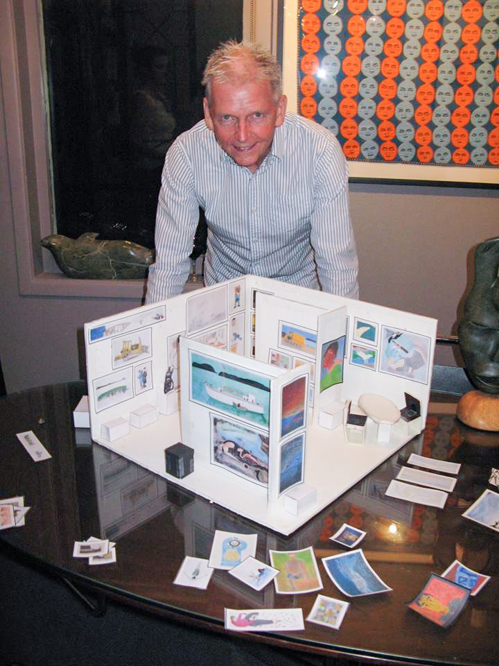 Bruce Hunter working on scale model of Art Toronto booth, 2012