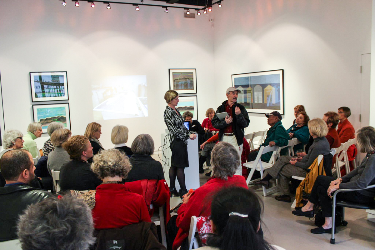 Jimmy Manning speaking at opening of Imagined Lansdscapes: Drawings by Ohotaq Mikkigak, 2012