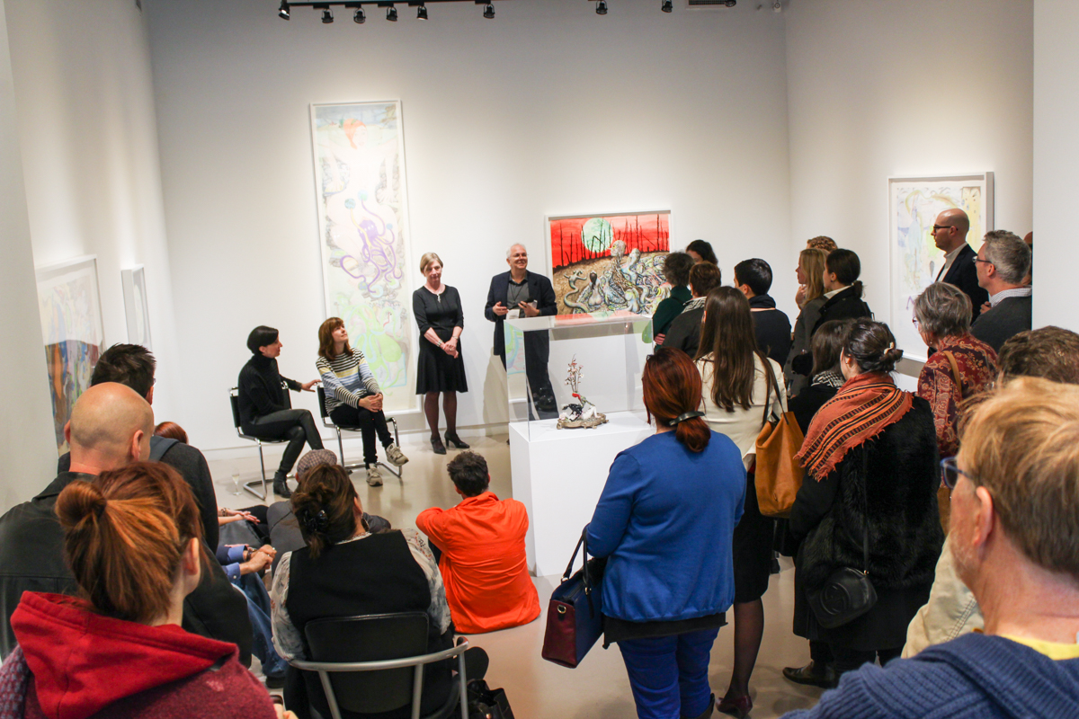Art Toronto VIP Gallery Talk in Centre Space; Nancy Campell, Shary Boyle, Pat and Pierre-Francois Ouellette; Preview of Universal Cobra, a collaborative exhibition of works by Shary Boyle and Shuvinai Ashoona presented by Feheley Fine Arts and Pierre-Francois Ouellette art contemporain,  2015