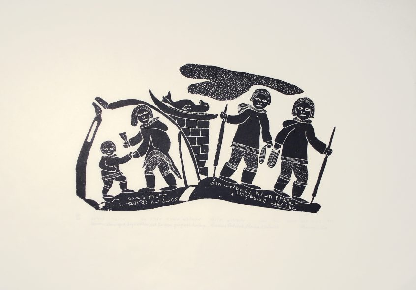 WOMAN CLEANING A BOY'S CLOTHES AND TWO MEN GOING SEAL HUNTING