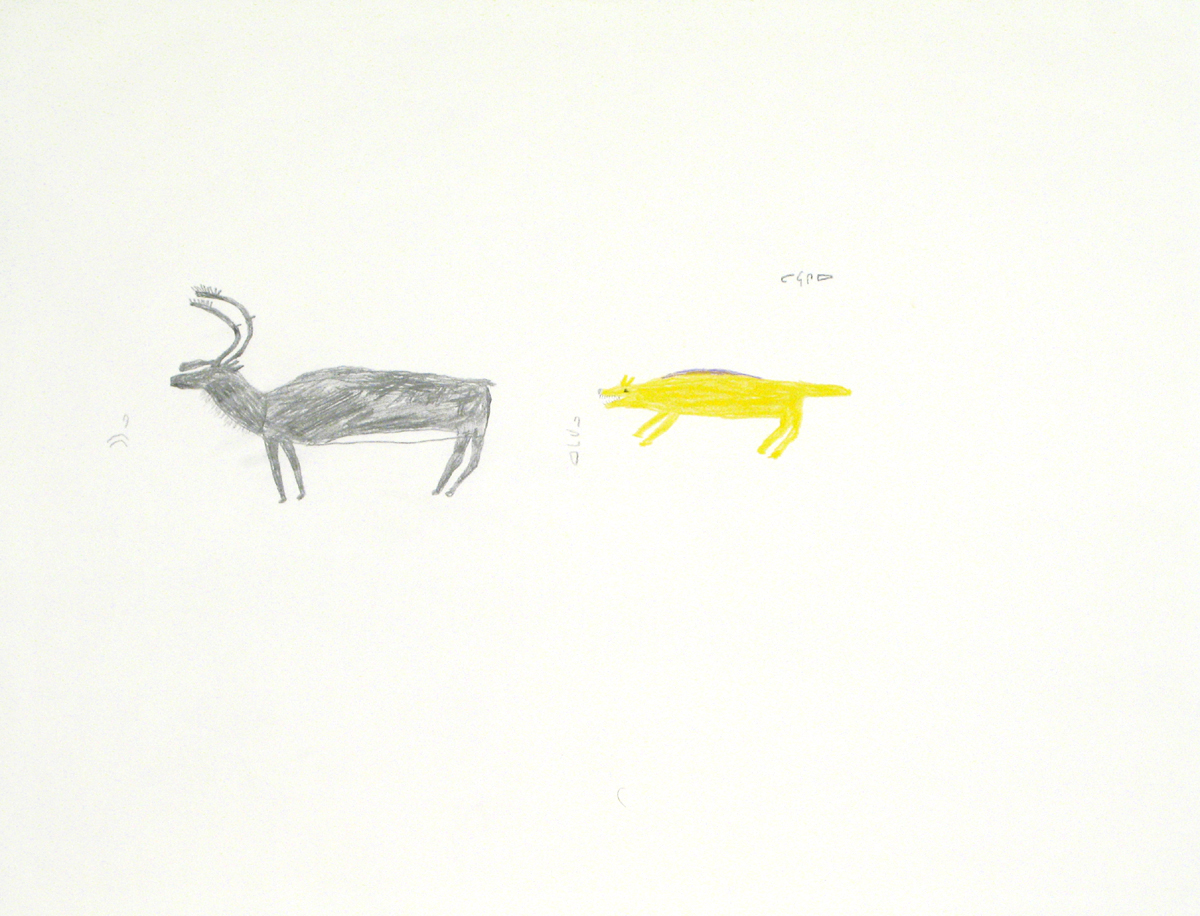 COMPOSITION (WOLF CHASING CARIBOU)