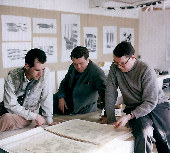 Terry Ryan, Budd Feheley and Dr. Evan Turner, Cape Dorset Co-op, 1963