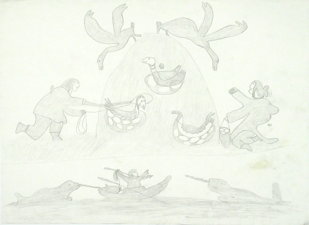 COMPOSITION (GATHERING EGGS AND HUNTING NARWHALS)