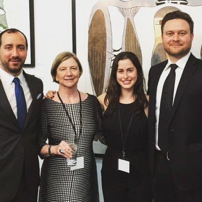 Gallery staff Renzo Fernandez, Pat, Elyse Jacobson and Brad van der Zanden at opening of Papier 2016 in Montreal