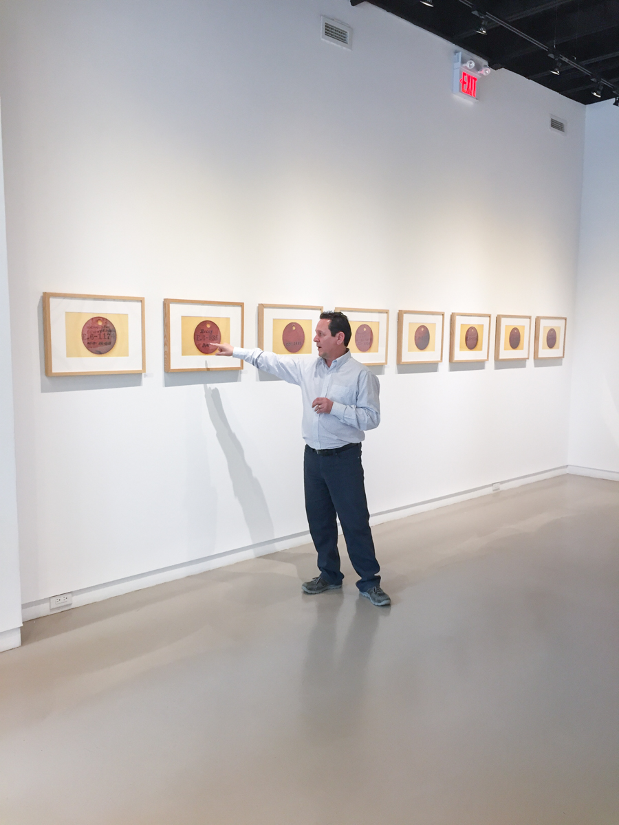 Barry Pottle speaking at the opening of his solo exhibition, The Awareness Series, 2016