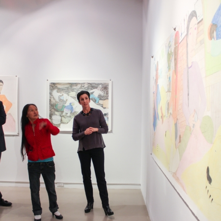 Gallery Talk between Nancy Campbell and Shuvinai Ashoona during opening of Woven Thoughts, solo exhibition for Shuvinai Ashoona, 2014.