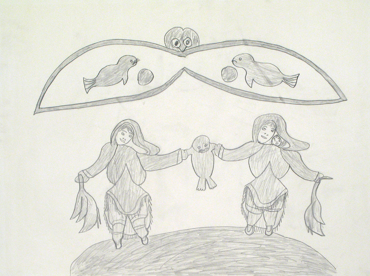 WOMEN WITH SEAL AND GEESE