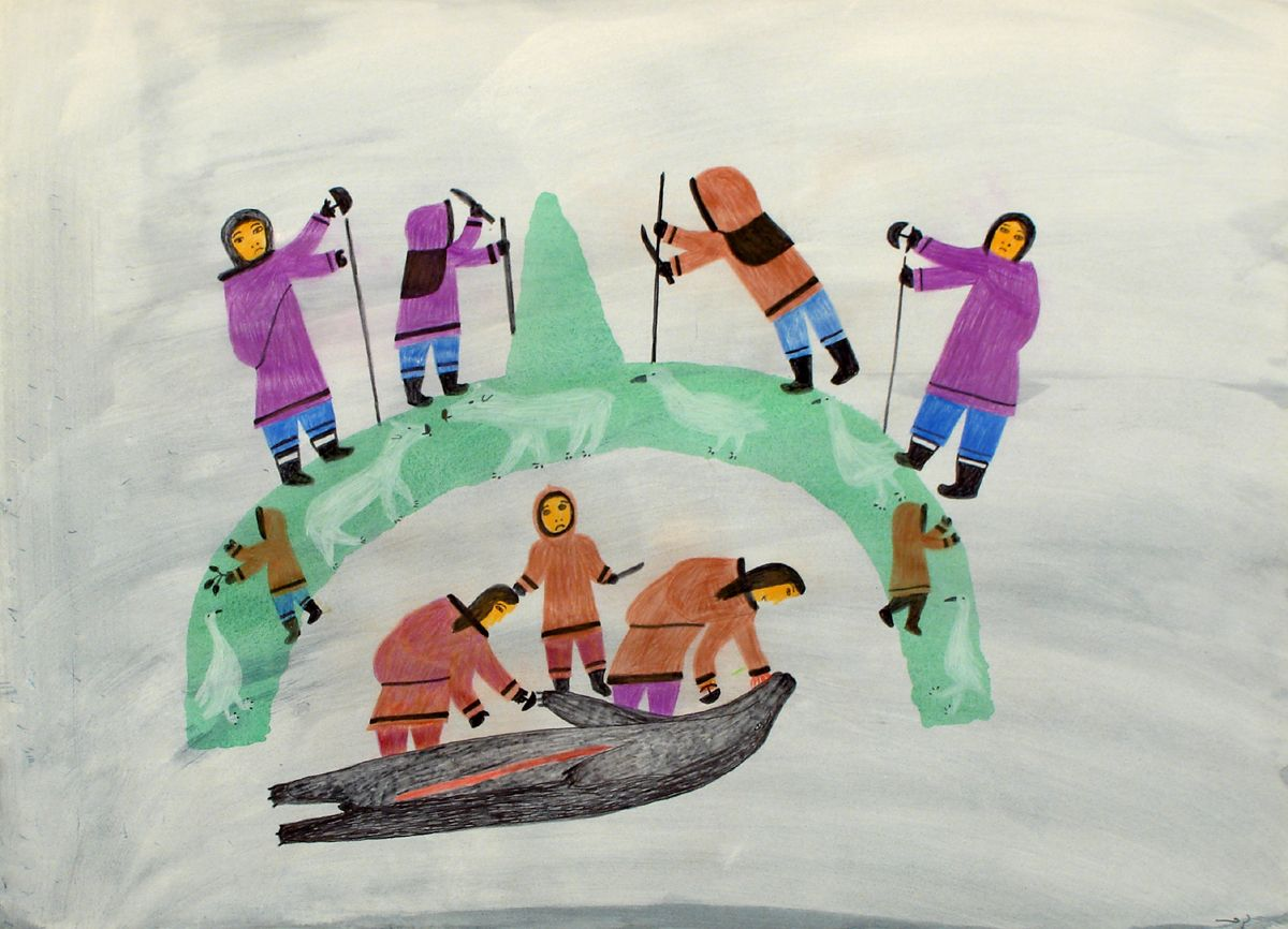 COMPOSITION (PREPARING A MEAT CACHE) - Feheley Fine Arts - Inuit Art
