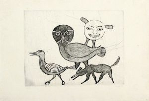 UNTITLED (OWL, FOX, BIRD, SPIRIT FIGURE)