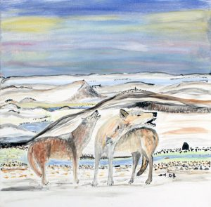 WINTER SCENE WITH WOLVES