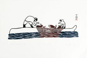 BUTCHERING WALRUS ON ICE FLOE