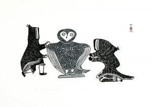 TWO FIGURES APPROACHING OWL