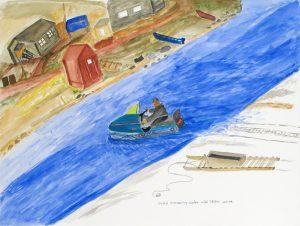 NOAH CROSSING WATER WITH SKIDOO