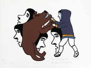 INUK FIGHTING BEAR WITH INUK'S SPIRIT HELPING HIM