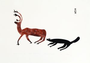 CARIBOU CHASED BY WOLF